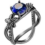 Women Black Gold Plated X Shape Blue Sapphire Round Cut Zirconia CZ Ring Eternity Promise Wedding Band 9