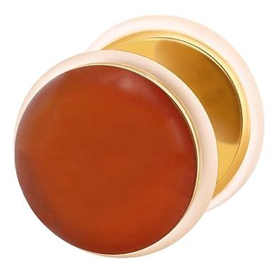 Dilatador falso piercing dorado plug, pendiente, piedra linia roja ágata: Amazon.es: Joyería