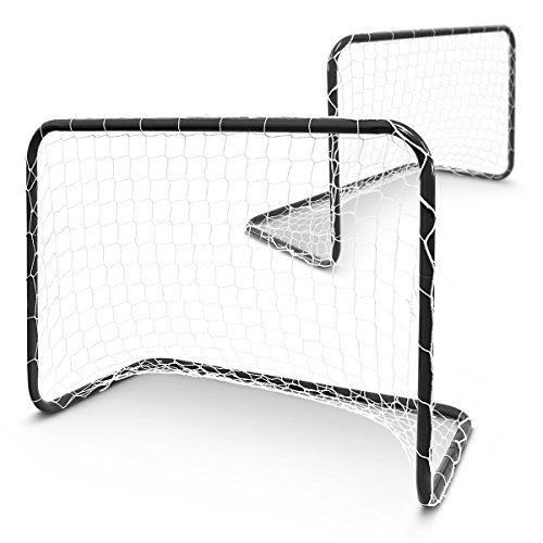 Relaxdays Tore Kinderfußballtore Mini-Fußballtore Fußballtor Set zum Fußballspielen im Garten 78 x 57 x 46 cm mit Nylonnetzen Metall schwarz