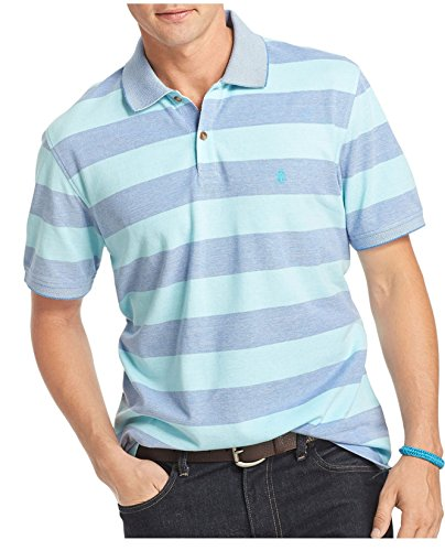 Izod Men's Rugby Stripe Polo (Large, Blue Radiance) (Izod Striped Polo Shirt)