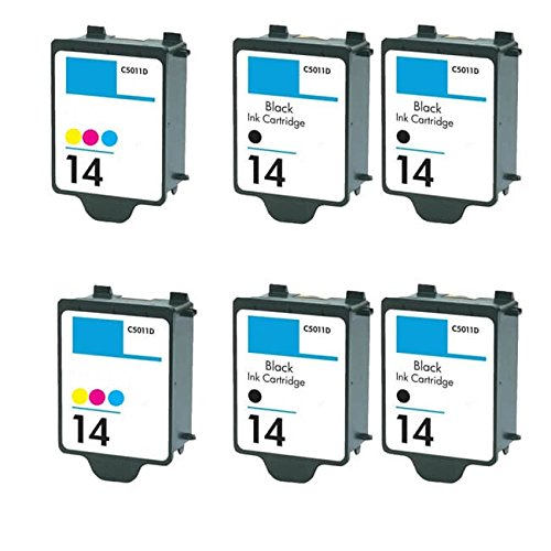14 Black C5011an Ink - N&L Global CO. 4 x C5011AN 14 Black + 2 x C5010AN 14 Color Compatible Ink Cartridge for HP D135/ D155/ 610 (Combo Pack of 6)