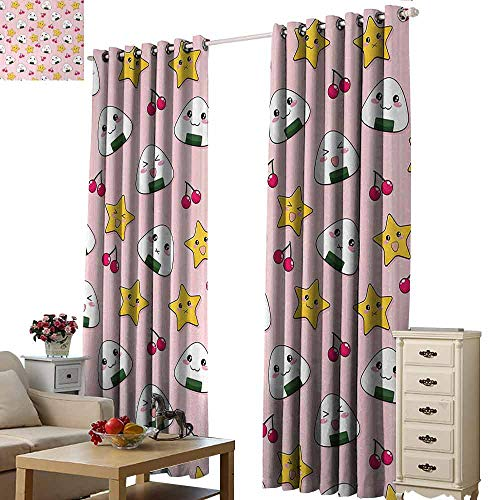 - Homrkey Warm Curtain Anime Happy Crying Cute Cartoon Rice Balls Cherries Stars Pattern on Stripes Art Thermal Insulated Tie Up Curtain W108 xL84 Pink Yellow and White