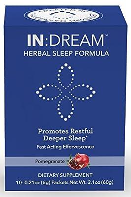 IN:DREAM Herbal Sleep Formula, Natural Sleep Aid, Sleep Fast, Sleep Deep, 10 Delish Drink Packs, Pomegranate Flavor, 10 Herb ANTIOXIDANT ADAPTOGEN Blend, Clinically Proven Ingredients