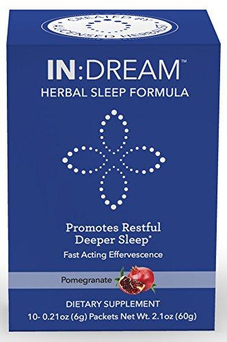 Aid Sleep Wellness - IN:DREAM Herbal Sleep Formula, Natural Sleep Aid, Sleep Fast, Sleep Deep, 10 Delish Drink Packs, Pomegranate Flavor, 10 Herb ANTIOXIDANT ADAPTOGEN Blend, Clinically Proven Ingredients