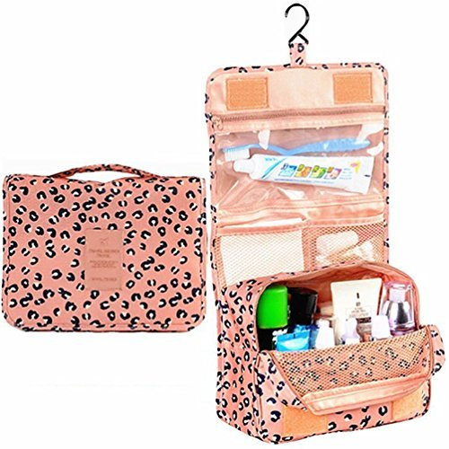 L&FY Multifunction Portable Travel Toiletry Bag Cosmetic Makeup Pouch Toiletry Case Wash Organizer (Pink Leopard Print)