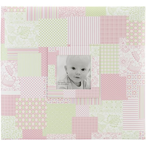 MCS MBI 12.5x13.5 Inch Baby Scrapbook Album with 12x12 Inch Pages with Photo Opening, Pink Quilt Design ()