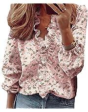 WAEKQIANG Dames lente en zomer nieuwe lange mouwen ruches shirt blouses