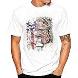 Blouse, Han Shi Men Fashion Summer Pullover Short Sleeve Plus Size T-shirt Tee Tank (L)