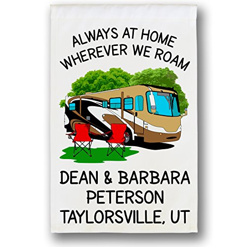 Always at Home Wherever We Roam, Class A Motorhome Campsite Flag, Camper Decor, Personalized Just for You, White (Gold/Brown)