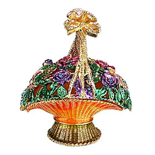 YUFENG Flowered Basket Pewter Figurine Box Crystal, Jewelry Box, Keepsake (Valentine Basket Craft)