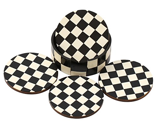 SouvNear Drink Coasters Chess Board Pattern - Black and White Coaster - Retro Wood Coaster Set with 4 Round Handmade Table Coasters