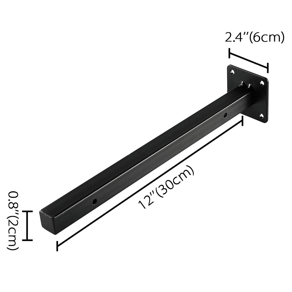 8 Blind Industrial Metal Shelving Supports Wall Mounted Concealed Hidden Hardware Brace for DIY or Custom Wall Shelving Heavy Duty Floating Shelf Brackets 4 Pack - Black