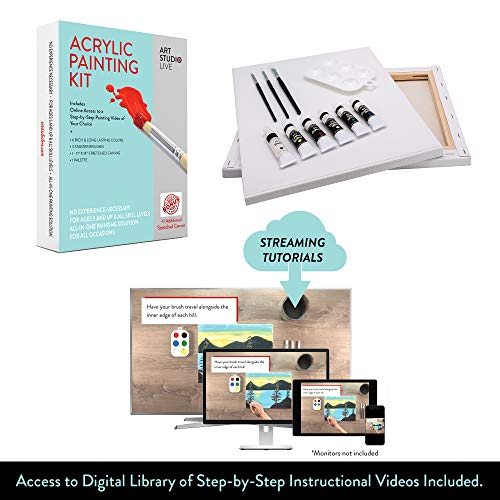 Art Studio Live Acrylic Paint Kit Including Step-by-Step Online Instructional Video | Learn to Paint Platform | Best Gift for Kids/Adults, DIY Paint Night at Home, Easily Host Your Own ()