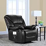 Full Body Massage Recliner Chair, PU Leather Reclining Massage Chair (Black)