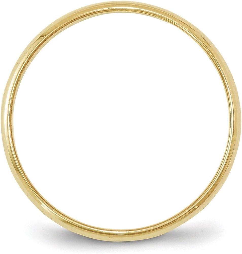 BRIDALCOLLECTION 10K Yellow Gold 6.00MM LTW Half Round Wedding Band Ring