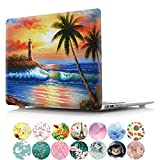 PapyHall Macbook Air 13 inch Case New 2 In 1 Color Painting Plastic Pattern Hard Case for Apple Macbook Air 13 inch Model: A1369 and A1466 (DZ-Beach)
