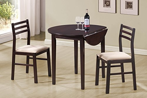 "36""DIA AND CAPPUCCINO WITH DROP LEAF DINING SET, SET OF 3"