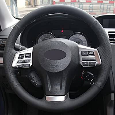 Loncky Black Genuine Leather Auto Custom steering wheel covers for 2014-2016 Subaru Forester /2013-2015 Subaru XV Crosstrek /2012-2014 Subaru Legacy /2012-2015 Subaru Impreza /2012-2014 Subaru Outback: Automotive