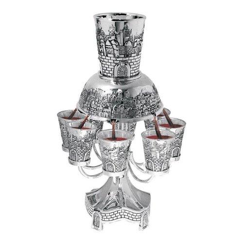 8 Cup Nickel Plated Kiddush Wine Fountain - Jerusalem Designed