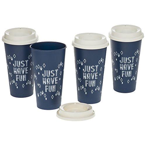 Aladdin 4-Pack Reusable To-Go Cups 20oz, Marina/White Assort