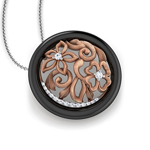 Or Rose 18K 0,1ct tw Round-cut-diamond (IJ | SI) et pendentif en onyx Noir