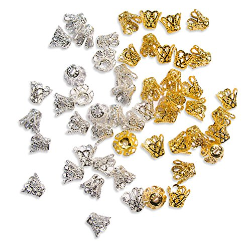 Wholesale Bead Caps (TOAOB Filigree Flower Cup Shape Bead Caps 7mm Gold Silver Wholesale for Jewelry Making Pack of 600pcs)