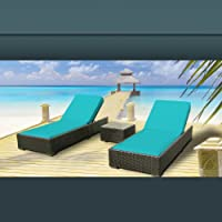 Luxxella Outdoor Patio Wicker Furniture 3 Pc Chaise Lounge Set TURQUOISE by Luxxella