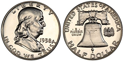 1958 GEM PROOF (PR63 PLUS) - FRANKLIN HALF DOLLAR 1/2 Proof US Mint (Us Franklin Mint)