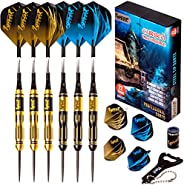 IgnatGames Steel Tip Darts Set - Professional Darts with Aluminum Shafts, Rubber O'Rings, and Extra Flight