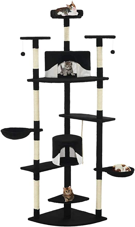 UnfadeMemory Árbol para Gatos,Rascador para Gatos con 2 Casas,2 Juguetes Colgantes,2 Cestas y Plataformas,Postes Rascadores de Sisal 203cm (Negro y Blanco): Amazon.es: Hogar