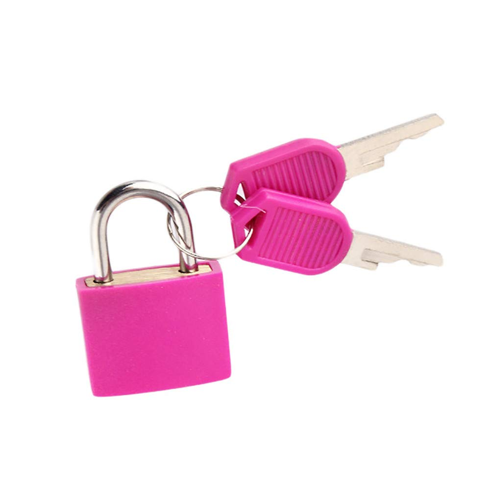 Mini Lock and Key Set Strong Steel Padlock Travel Suitcase Diary Lock with 2 Keys Perfect Padlock for Securing Your Suitcase Jewelry Boxes Gym Locker Tote Mini Fridge Cabinet and More (Pink)