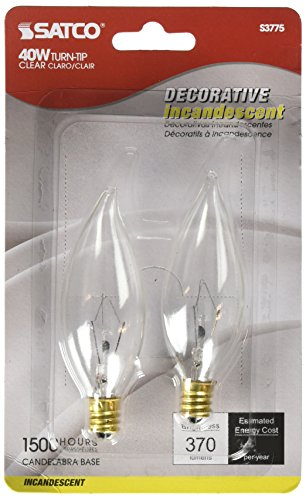 Satco Products S3775 120-Volt 40C9.5 Candelabra Base Clear Light Bulb (40c Light)