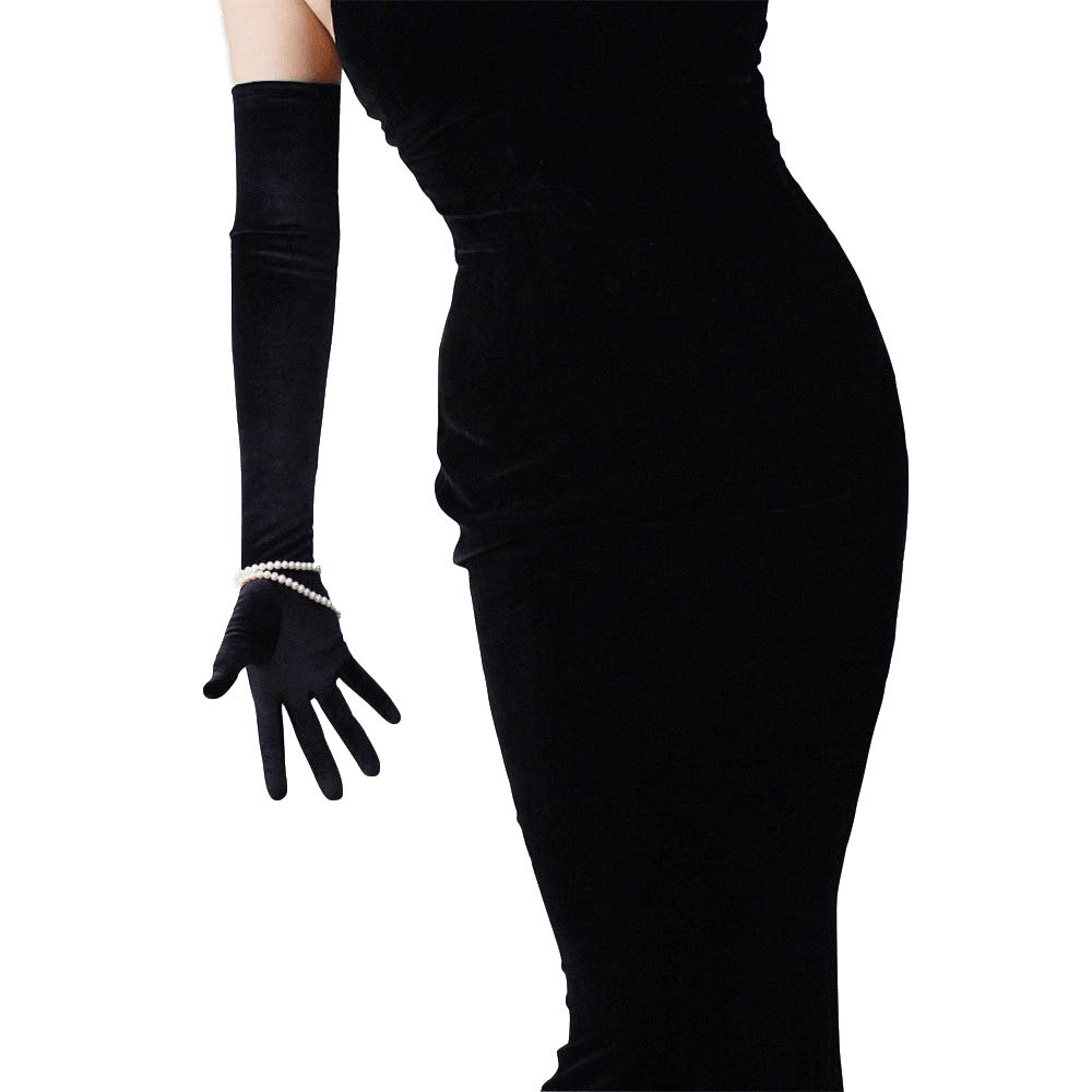 Vintage Gloves History- 1900, 1910, 1920, 1930 1940, 1950, 1960 DooWay 23-inch Black Velvet Opera Long Gloves Evening Elastic Stretchy Women Finger Gloves One Size $15.99 AT vintagedancer.com