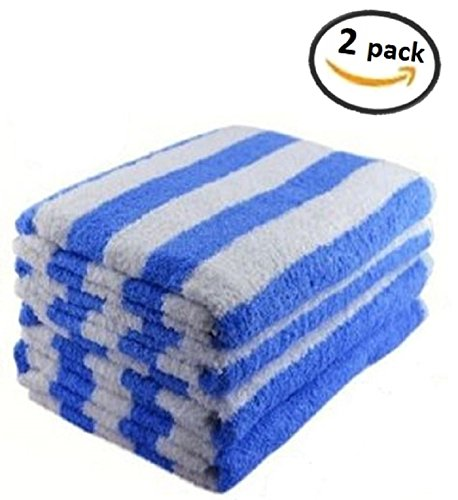 "2 LUXURY CABANA Striped Beach Towels 34"" x 70"", BLUE"