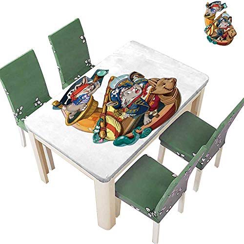 (Printsonne Tablecloth Waterproof Polyester Cartoon Hares Pirates are Going to Attack The Ship to take Production Invitation Card for Wedding/Party 54 x 120 Inch (Elastic)