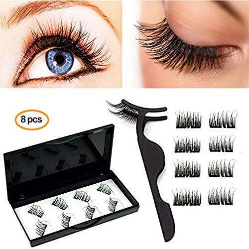 0e6fa947c94 Laswumen 8X Half-Eye Dual Magnetic Eyelashes, No Glue False Lashes 2 Pairs,