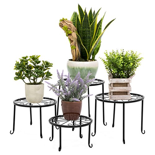 Best Choice Products Set of 4 Indoor Outdoor Metal Nesting Plant Stands, Flower Pot Holder Display Rack for Home & Garden Décor