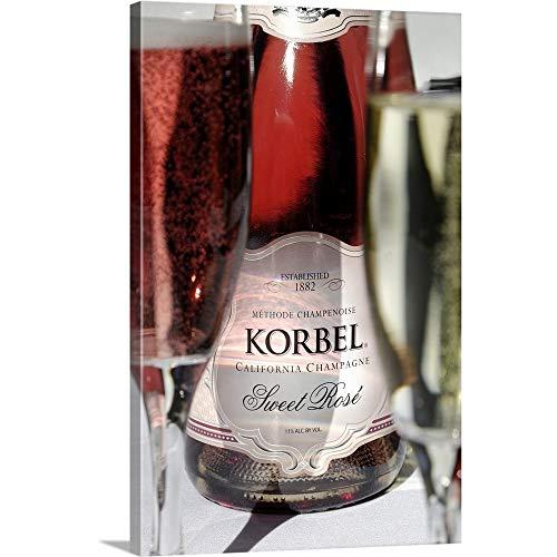 USA, California, Sonoma, Californian Champagne at Korbel Winery Canvas Wall Art Print, - Red Usa Wine Sonoma California
