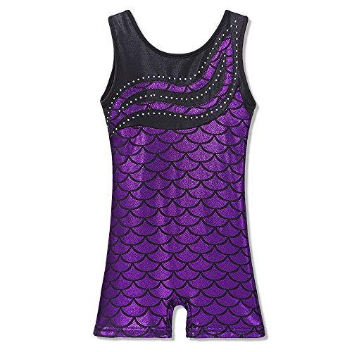 BAOHULU Leotard for Girls Gymnastics Toddler Biketards Shorts Shiny Scale Diamond Embroidery Purple,130 by BAOHULU