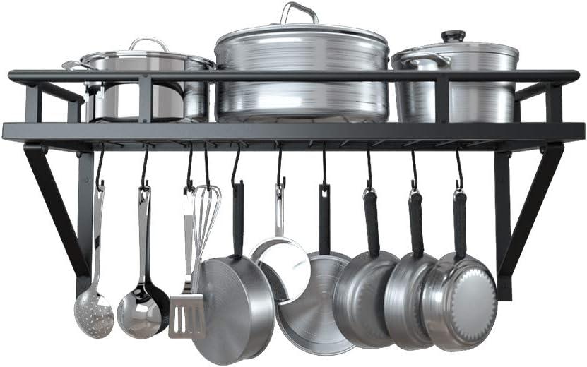 kes 24 inch kitchen pot pan rack wall mounted hanging storage organizer wall shelf with 10 hooks matte black kur215s60 bk