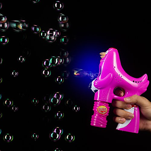 Fun Central BC608 Pink LED 5 Inch Rooster Bubble Gun Blaster Shooter, Chicken Bubble Blower Gun, LED Bubble Gun Rooster, Light up Bubble Gun, Bubble Machine Gun, Rooster Bubble Gun for Kids - Pink -