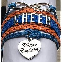 Sportybella Cheer Captain Charm Bracelet- Girls Captain Cheerleading Bracelet- Cheer Jewelry for Cheerleader