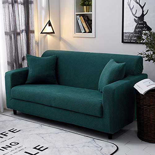 Velvet Jade - Chickle Sofa Slipcover Stretched Anti Slip Couch Cover Furniture Protector Corn Velvet -Jade Green 3-Seats Sofa 75-90