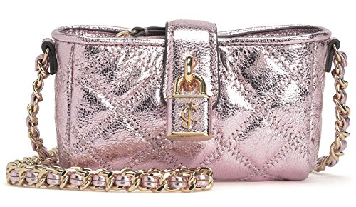 Juicy Couture Petal Pink Metallic Quilted Lock Front MICRO Mini Crossbody (Pink Juicy Couture Purse)