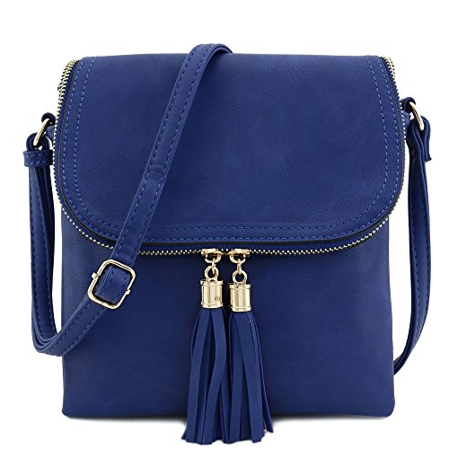 Flap Top Blue Royal Bag Tassel Compartment Accent Crossbody nbsp;with Double axqfx6