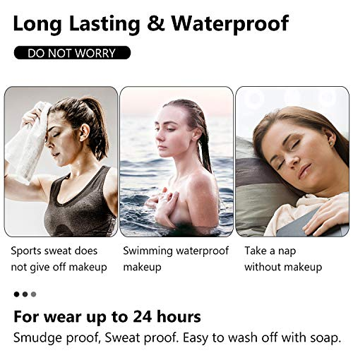 Eyebrow Tattoo Pen, Microblading Eyebrow Pencil, Tattoo Eyebrow with Four Tips Micro-Fork Tip, Long Lasting, Waterproof, Creates Natural Looking Brows Effortlessly & Stays on All Day