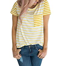 Paymenow Casual Blouse For Women, Clearance Girls Colorful Striped Summer T Shirts Loose Pocket Short Sleeve Pullover T Shirts Tops