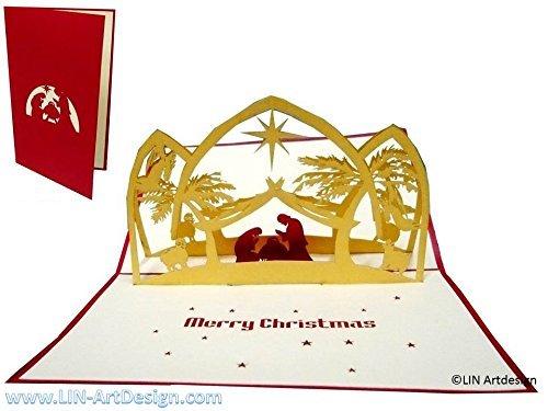 Christmas Scene Nativity Card (LIN - Pop Up 3D Greeting Card for Christmas/X-mas, Nativity Scene)