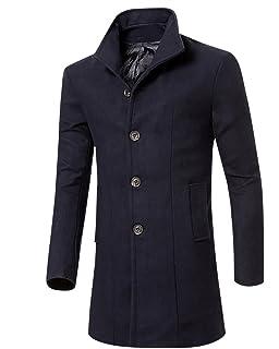 MISSMAO Uomo Classico Sottile Giacca Trench Caloroso Cappotto Invernale  Cappotto di Lana 315418d04ff