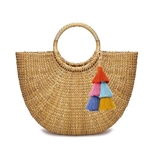 (JOLLQUE Hand Woven Womens Beach Grass Tote Bags, Natural Straw Handbag Purse (Grass-6))